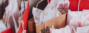 christmas paper bags in brown and red